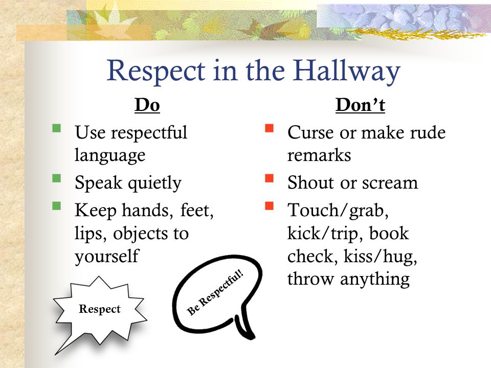 Respect in the Hallway Do  Use respectful language  Speak quietly  Keep hands, feet, lips, objects to yourself Don't  Curse or make rude remarks  Shout or scream  Touch/grab, kick/trip, book check, kiss/hug, throw anything Be Respectful.
