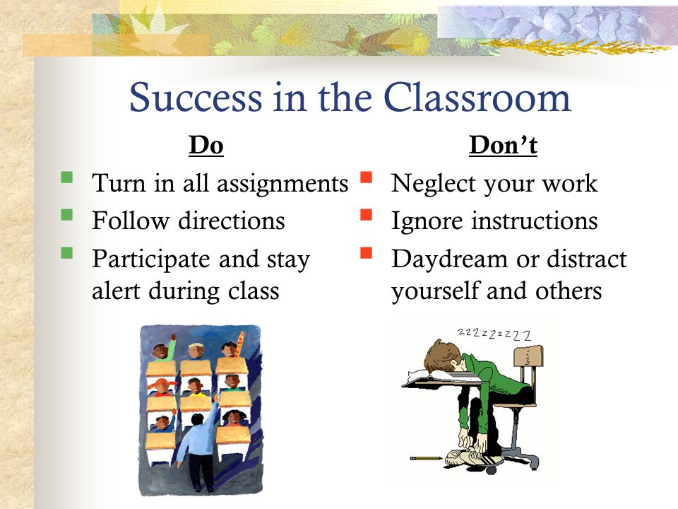 Success in the Classroom Do  Turn in all assignments  Follow directions  Participate and stay alert during class Don't  Neglect your work  Ignore instructions  Daydream or distract yourself and others