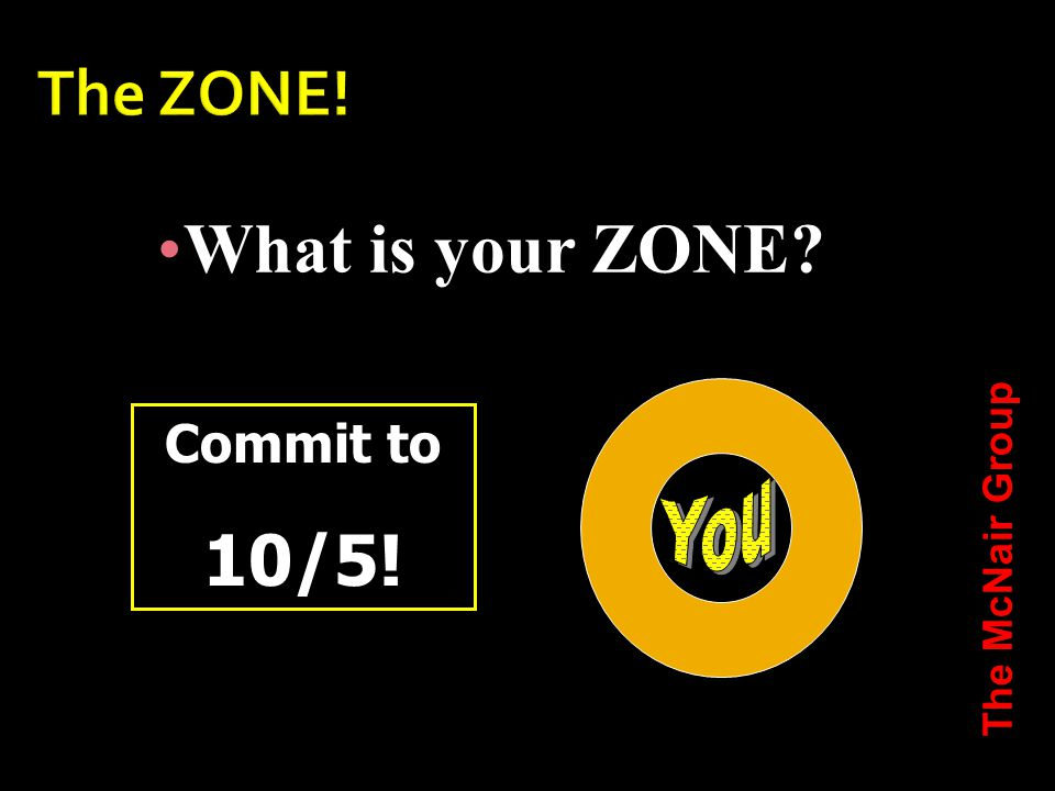 What is your ZONE Commit to 10/5! The McNair Group