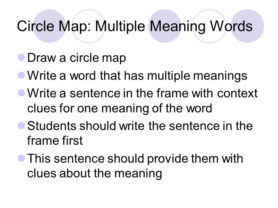 Circle Map: Multiple Meaning Words Draw a circle map Write a word that has multiple meanings Write a sentence in the frame with context clues for one meaning of the word Students should write the sentence in the frame first This sentence should provide them with clues about the meaning