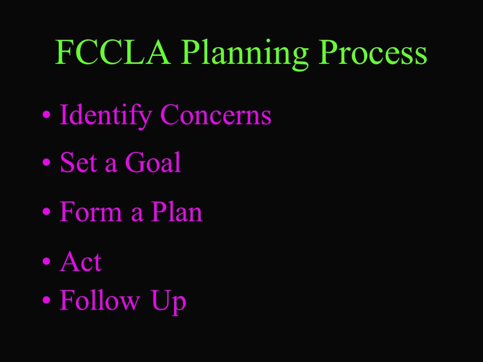 FCCLA Planning Process Identify Concerns Set a Goal Form a Plan Act Follow Up