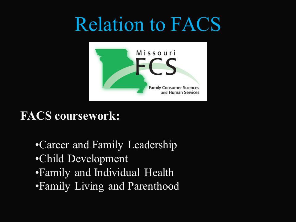 Relation to FACS FACS coursework: Career and Family Leadership Child Development Family and Individual Health Family Living and Parenthood