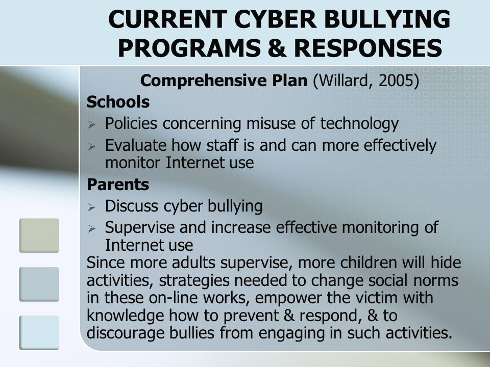 CURRENT CYBER BULLYING PROGRAMS & RESPONSES What Everyone Needs to Know About Cyber bullying' (aftab.com) Education of Children: All actions have consequences Cyber bullying hurts Cyber bully and accomplices often become the target of cyber bullying themselves Care about others and stand up for what's right