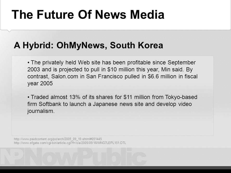 The Future – Oh My News 2 The site gets 1.7 million to 2 million page views each day, a number that shot up to 25 million during the December 2002 presidential election - When reformer Roh Moo Hyun won the tight presidential race, he granted his first domestic interview to OhmyNews -- a slap to the conservative corporate daily papers that supported his rival.