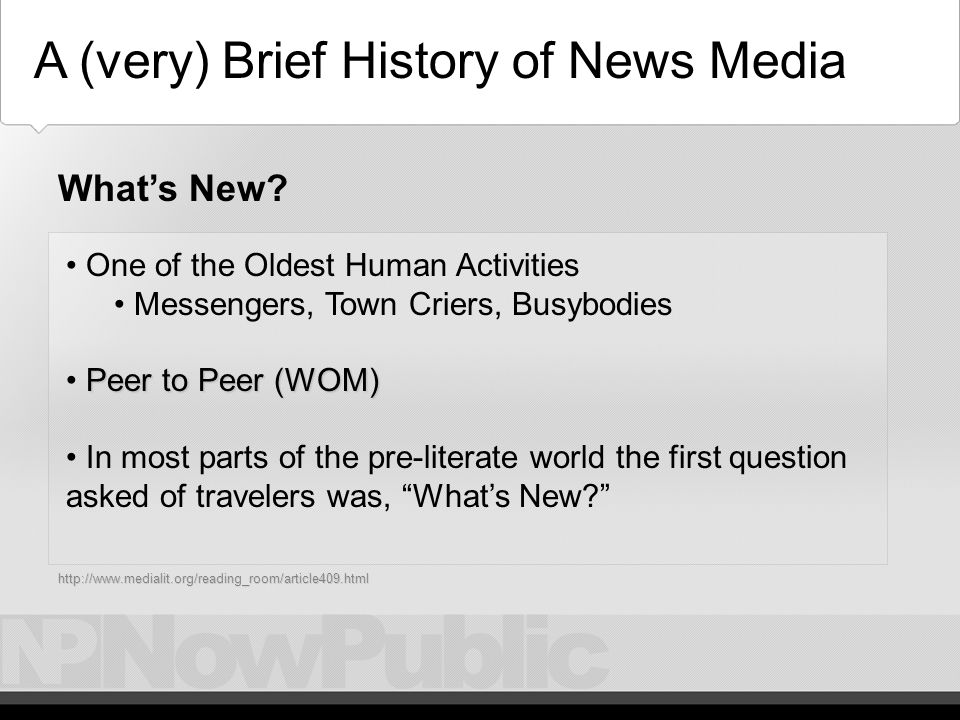 Overview Technology and Journalism A (very) Brief History Of News Media Technology Driven Technology Driven The Current State and Trends of the News Media The Current State and Trends of the News Media The Future of the News Media… The Future of the News Media… Citizen Journalism Citizen Journalism Overview