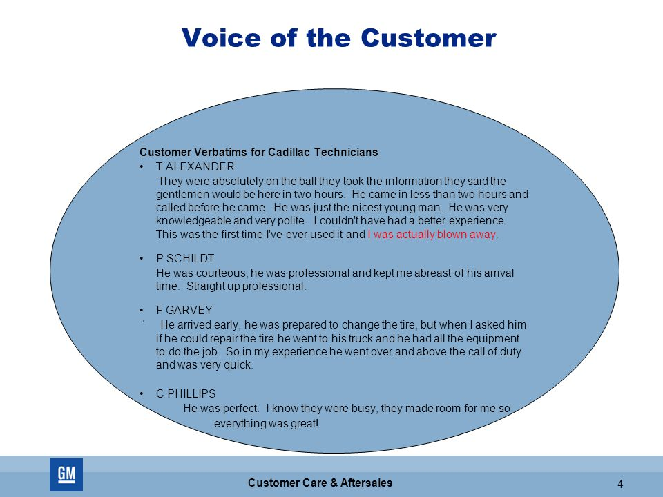 GM CONFIDENTIAL 4 Customer Care & Aftersales 4 Voice of the Customer Customer Verbatims for Cadillac Technicians T ALEXANDER They were absolutely on the ball they took the information they said the gentlemen would be here in two hours.