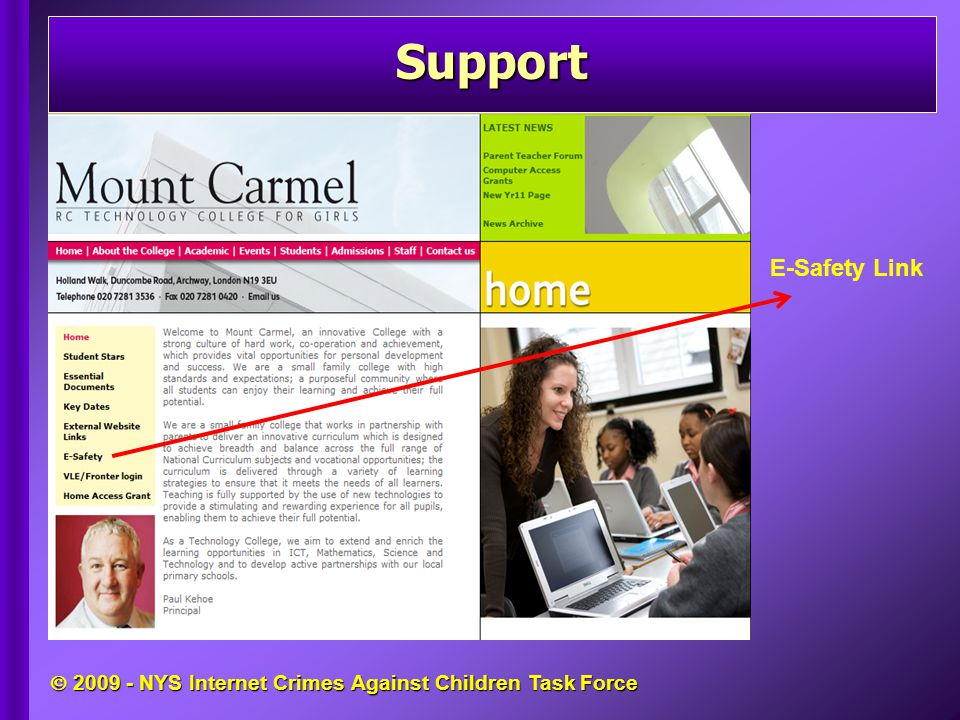  2009 - NYS Internet Crimes Against Children Task Force E-Safety Link Support