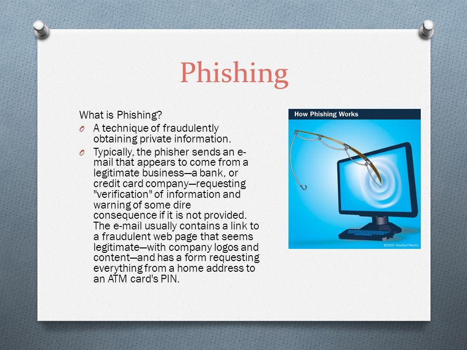 Phishing What is Phishing. O A technique of fraudulently obtaining private information.