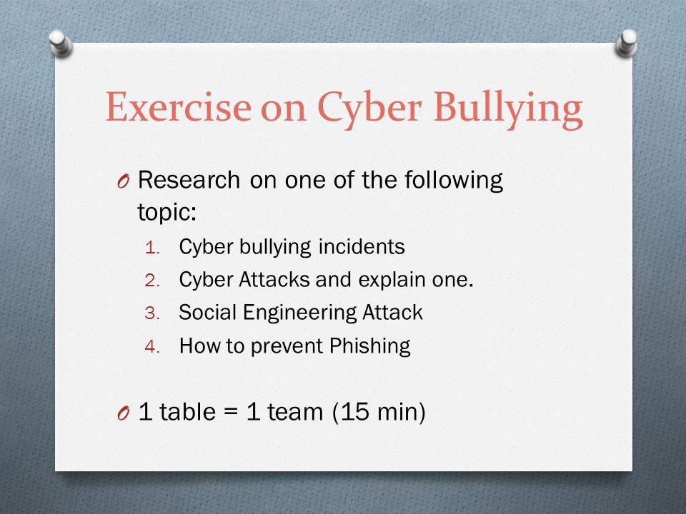 Exercise on Cyber Bullying O Research on one of the following topic: 1.