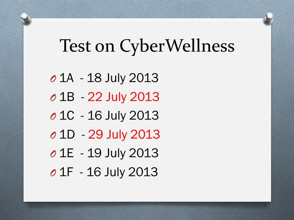Test on CyberWellness O 1A - 18 July 2013 O 1B - 22 July 2013 O 1C - 16 July 2013 O 1D - 29 July 2013 O 1E - 19 July 2013 O 1F - 16 July 2013
