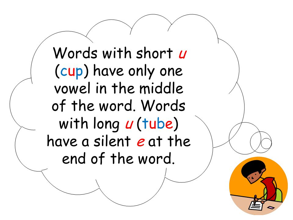 Words with short u (cup) have only one vowel in the middle of the word. Words with long u (tube) have a silent e at the end of the word.
