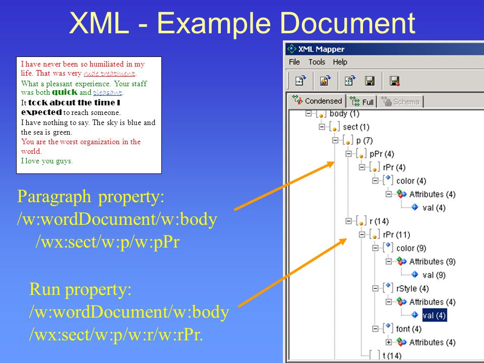 XML - Example Document I have never been so humiliated in my life.