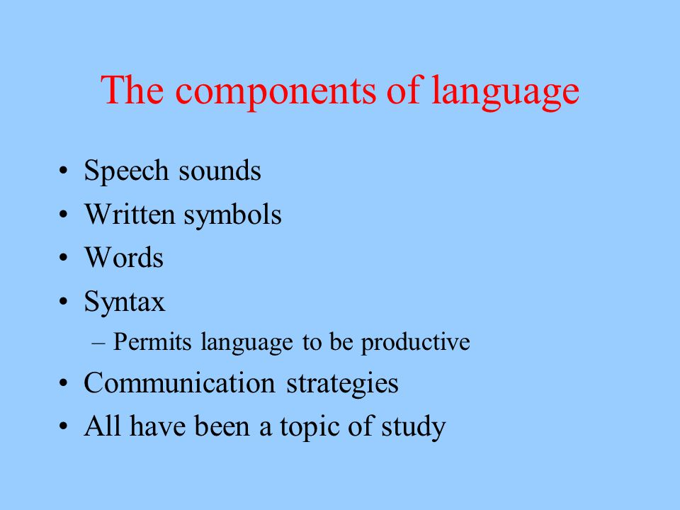 The components of language Speech sounds Written symbols Words Syntax –Permits language to be productive Communication strategies All have been a topic of study
