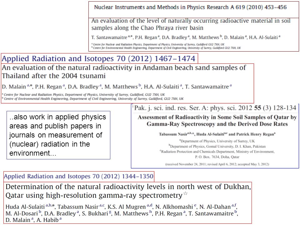 ..also work in applied physics areas and publish papers in journals on measurement of (nuclear) radiation in the environment...