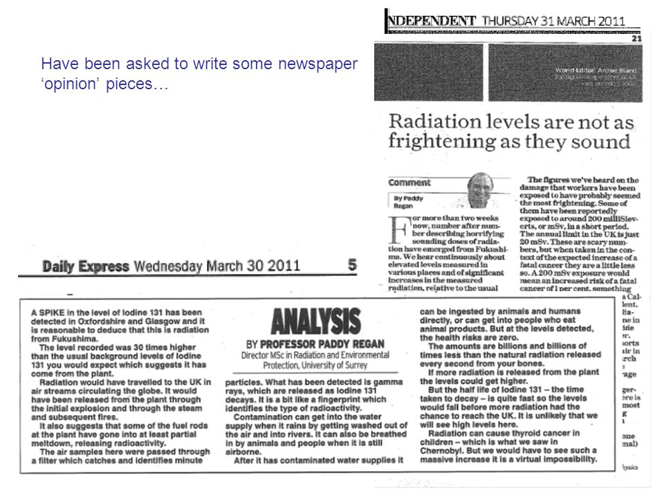 Have been asked to write some newspaper 'opinion' pieces…