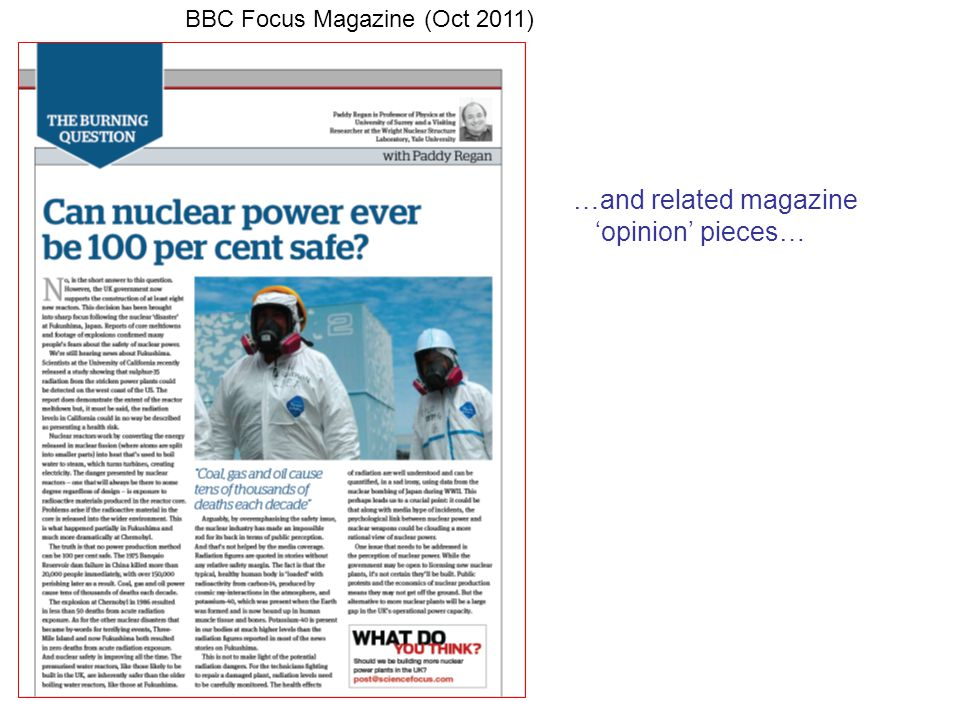 …and related magazine 'opinion' pieces… BBC Focus Magazine (Oct 2011)
