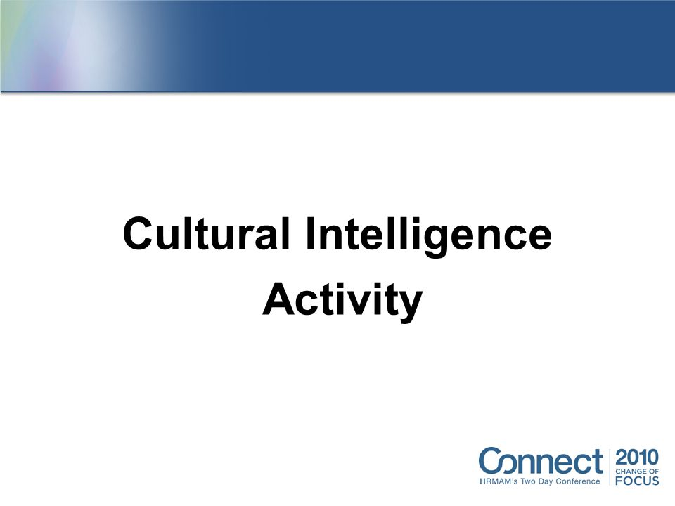 Cultural Intelligence Activity