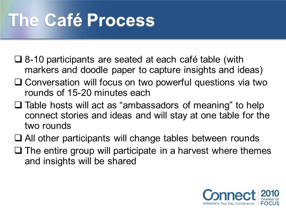  8-10 participants are seated at each café table (with markers and doodle paper to capture insights and ideas)  Conversation will focus on two powerful questions via two rounds of 15-20 minutes each  Table hosts will act as ambassadors of meaning to help connect stories and ideas and will stay at one table for the two rounds  All other participants will change tables between rounds  The entire group will participate in a harvest where themes and insights will be shared The Café Process