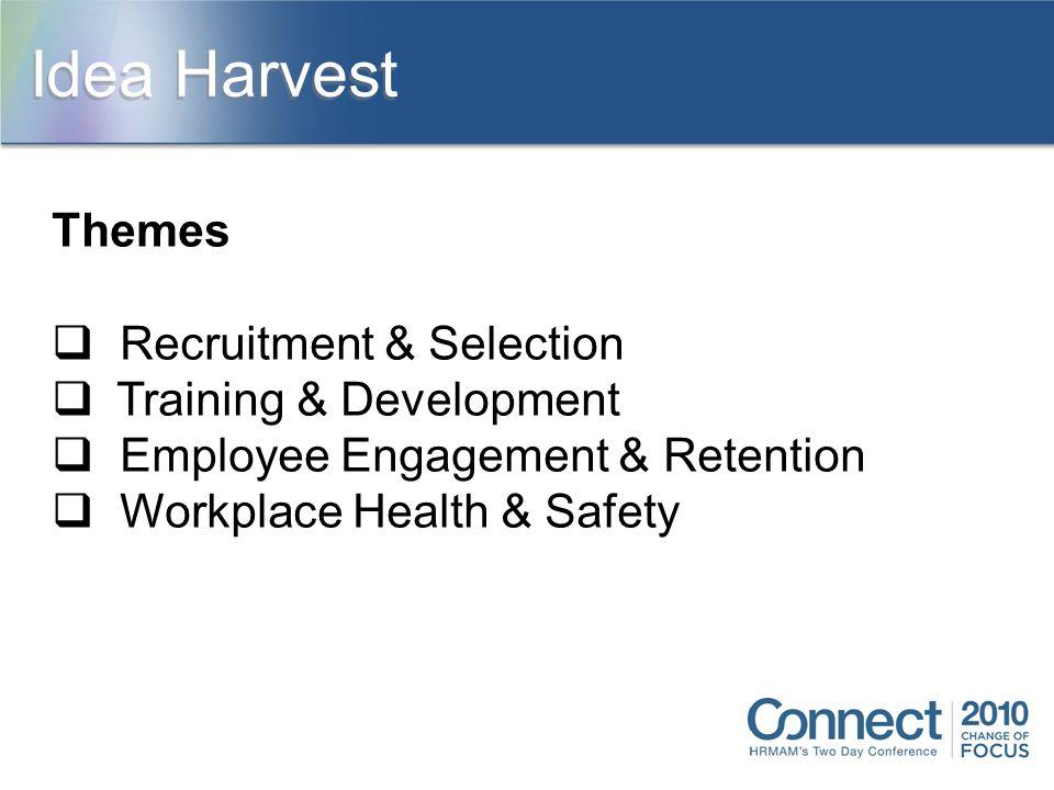 Themes  Recruitment & Selection  Training & Development  Employee Engagement & Retention  Workplace Health & Safety Idea Harvest
