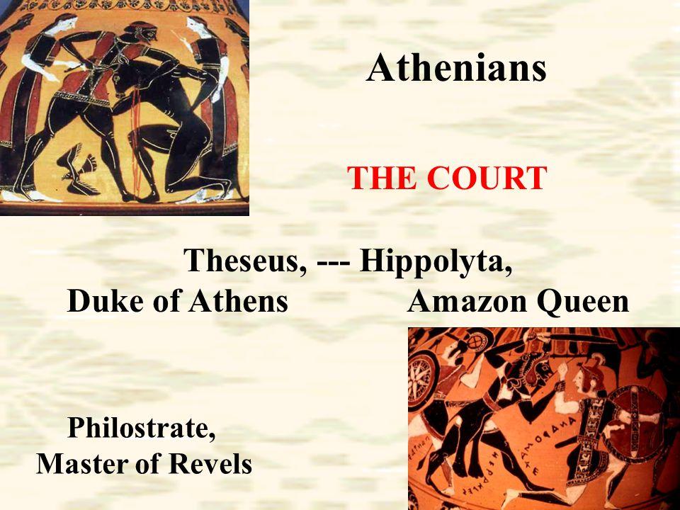Athenians The Lovers Egeus Hermia Lysander Demetrius Helena