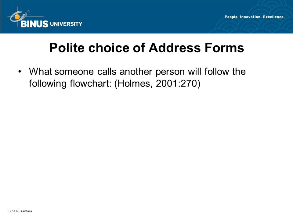 Bina Nusantara Polite choice of Address Forms What someone calls another person will follow the following flowchart: (Holmes, 2001:270)