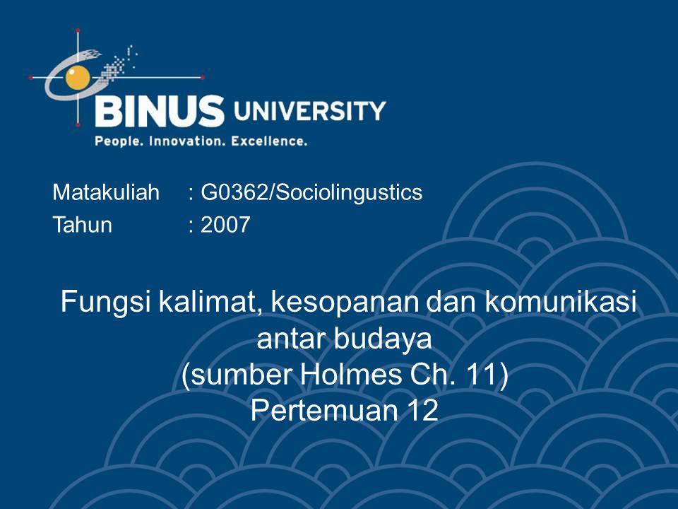 Bina Nusantara Learning Outcomes Pada akhir pertemuan ini, diharapkan mahasiswa akan mampu : Mahasiswa dapat mengidentifikasikan fungsi-fungsi kalimat