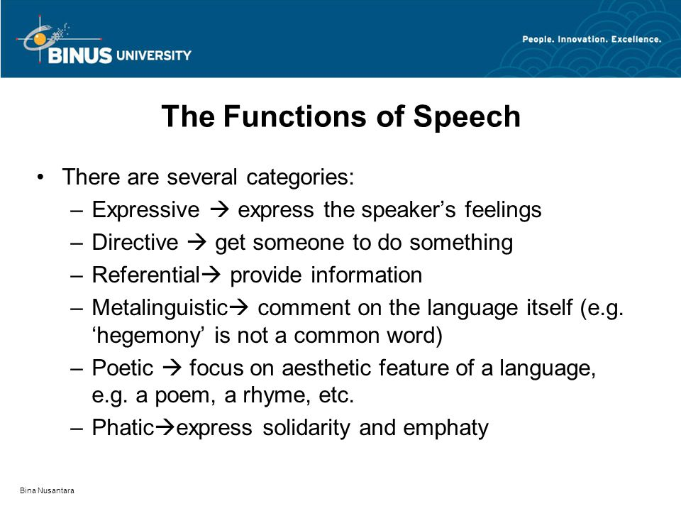 Bina Nusantara The Functions of Speech There are several categories: –Expressive  express the speaker's feelings –Directive  get someone to do something –Referential  provide information –Metalinguistic  comment on the language itself (e.g.
