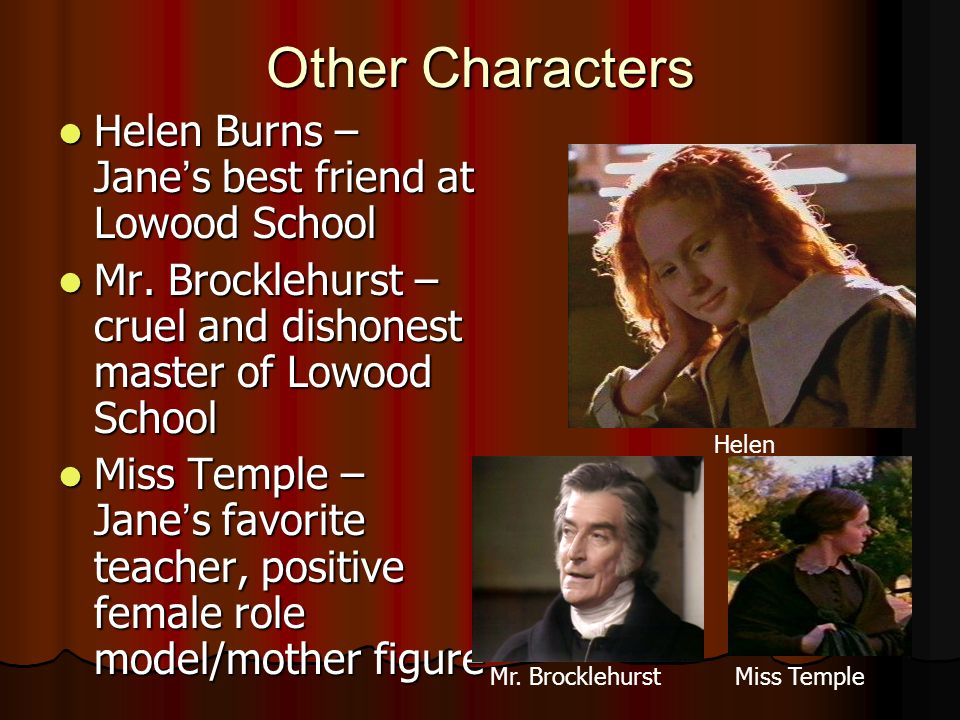 Other Characters Helen Burns – Jane ' s best friend at Lowood School Helen Burns – Jane ' s best friend at Lowood School Mr.