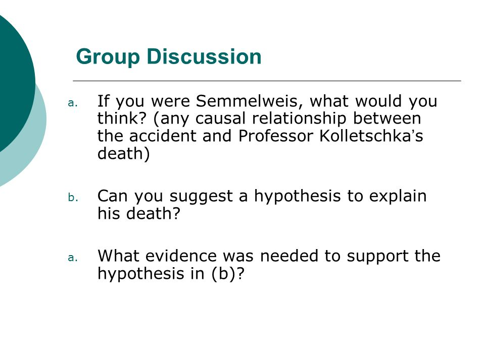 Group Discussion a. If you were Semmelweis, what would you think.
