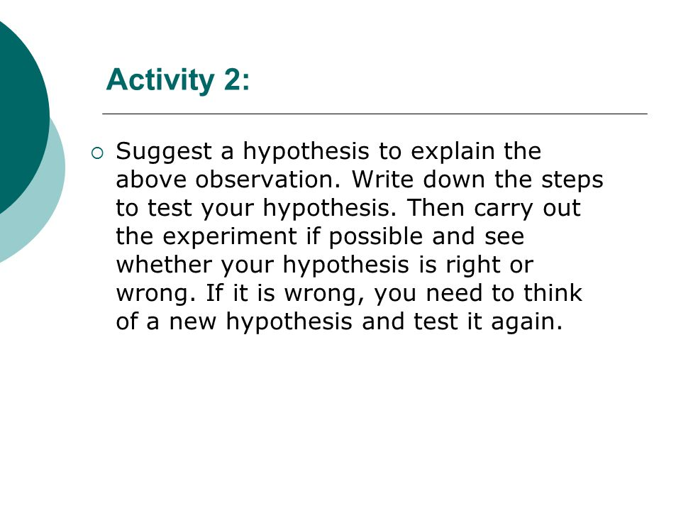 Activity 2:  Suggest a hypothesis to explain the above observation.