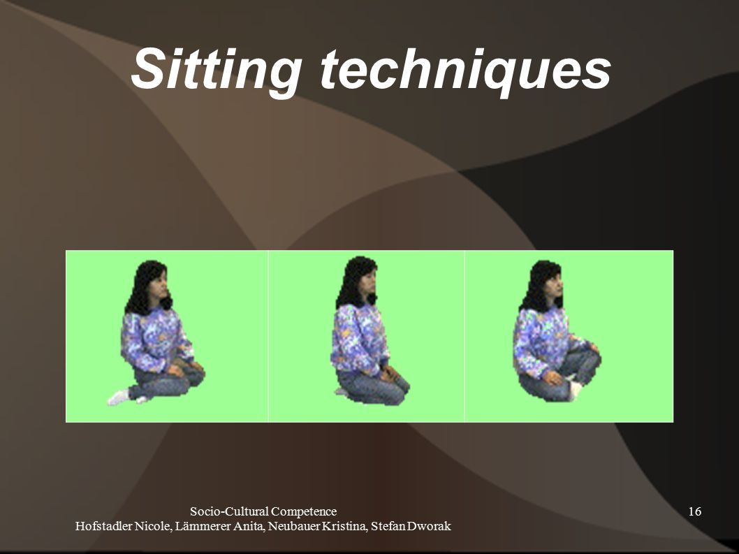 Socio-Cultural Competence Hofstadler Nicole, Lämmerer Anita, Neubauer Kristina, Stefan Dworak 16 Sitting techniques