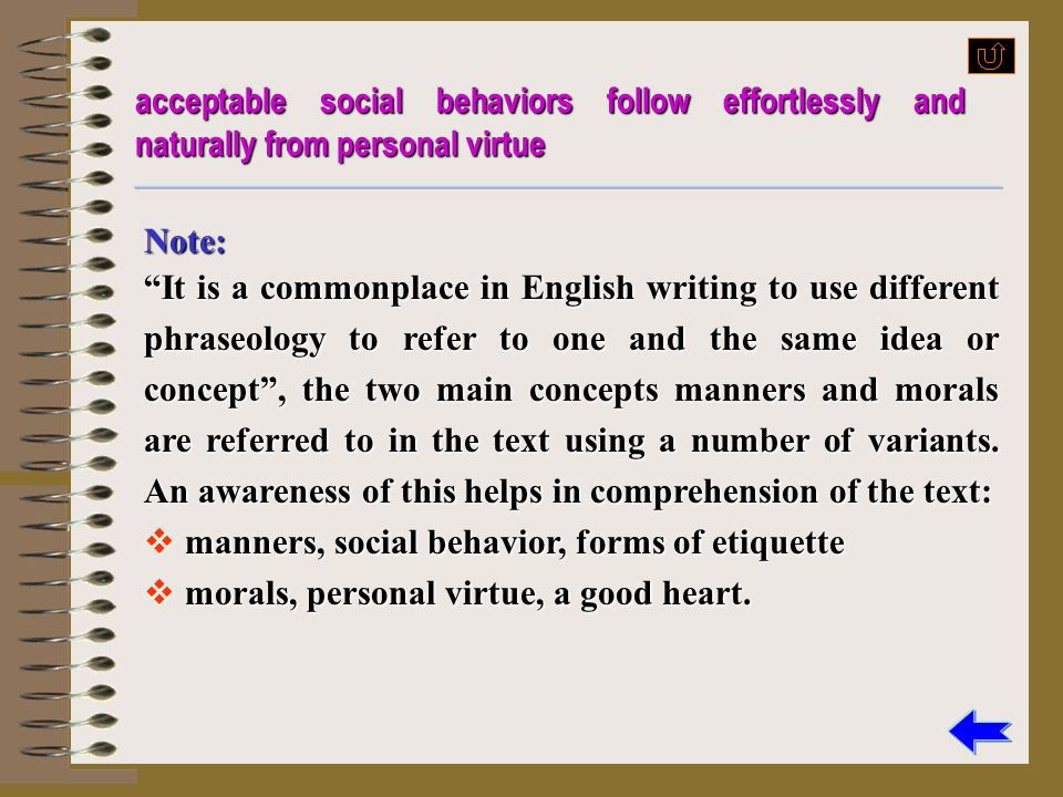 Paraphrase? acceptable social behaviors follow effortlessly and naturally from personal virtue people who are morally good easily and certainly have g