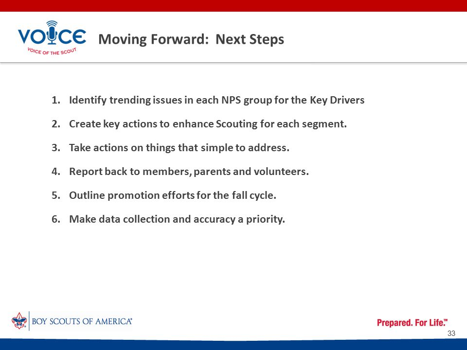 Moving Forward: Next Steps 1.Identify trending issues in each NPS group for the Key Drivers 2.Create key actions to enhance Scouting for each segment.