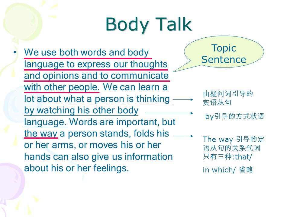 Body Talk We use both words and body language to express our thoughts and opinions and to communicate with other people.