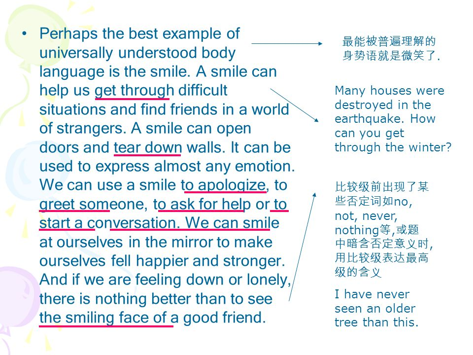 Perhaps the best example of universally understood body language is the smile.