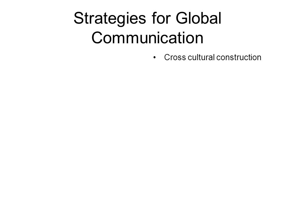 Strategies for Global Communication Cross cultural construction
