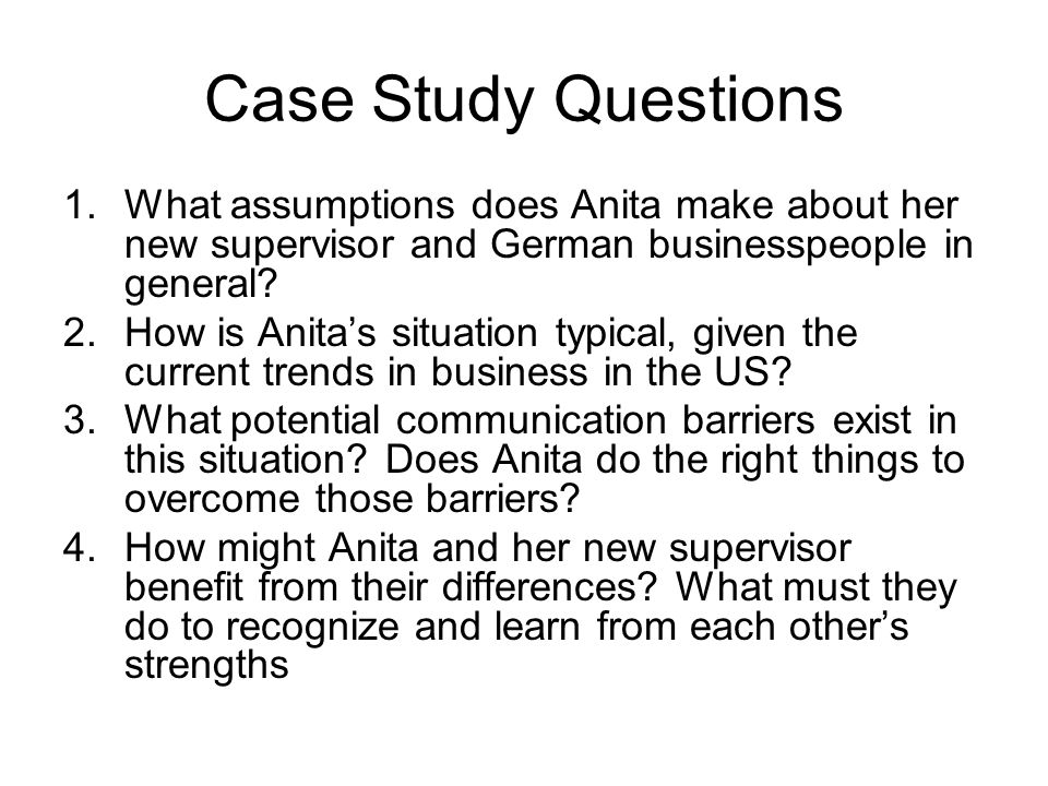 Case Study Questions 1.What assumptions does Anita make about her new supervisor and German businesspeople in general.