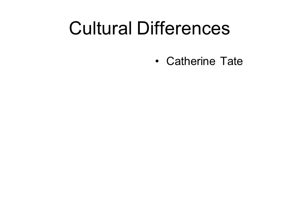 Cultural Differences Catherine Tate