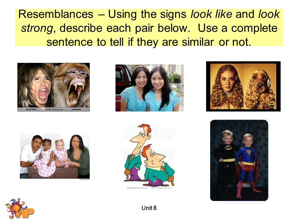 Unit 8 Resemblances – Using the signs look like and look strong, describe each pair below. Use a complete sentence to tell if they are similar or not.