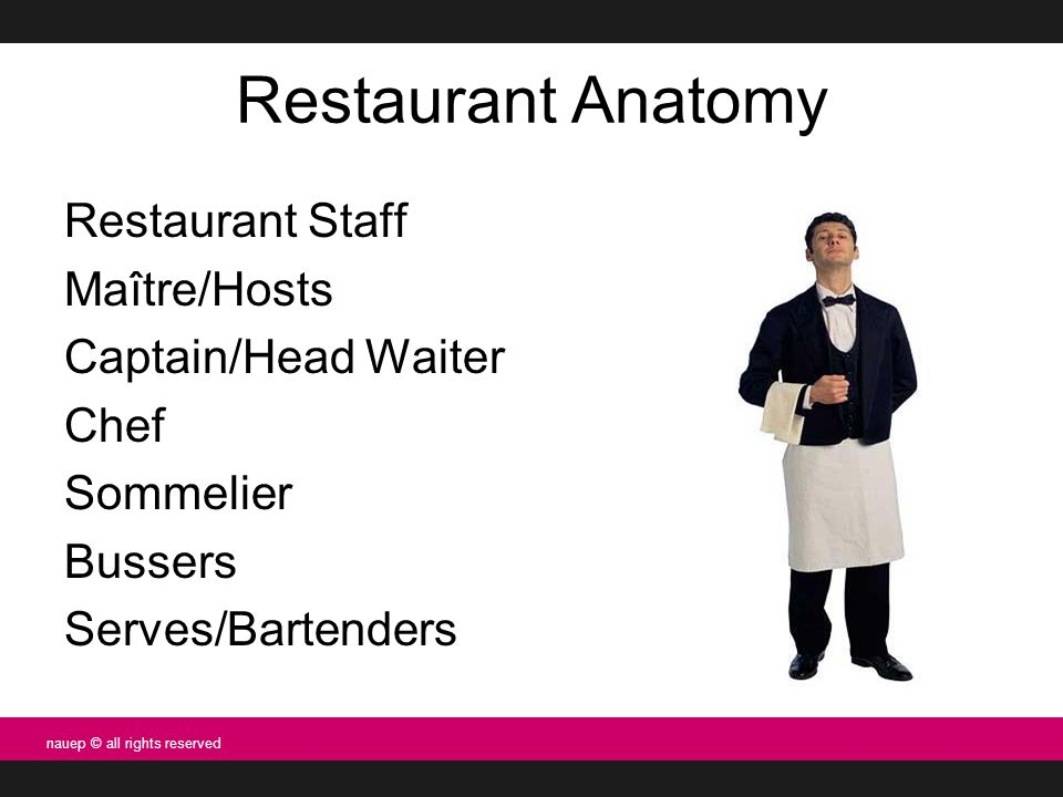 Restaurant Anatomy Restaurant Staff Maître/Hosts Captain/Head Waiter Chef Sommelier Bussers Serves/Bartenders nauep © all rights reserved