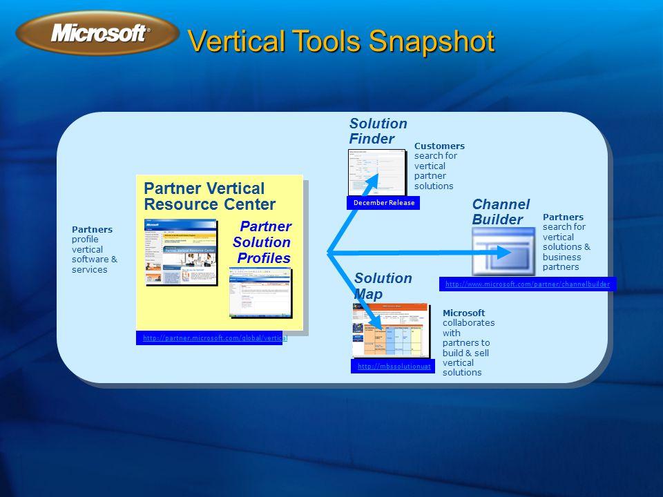 Vertical Tools Snapshot Partner Solution Profiles Partner Vertical Resource Center Solution Finder Channel Builder Partners profile vertical software