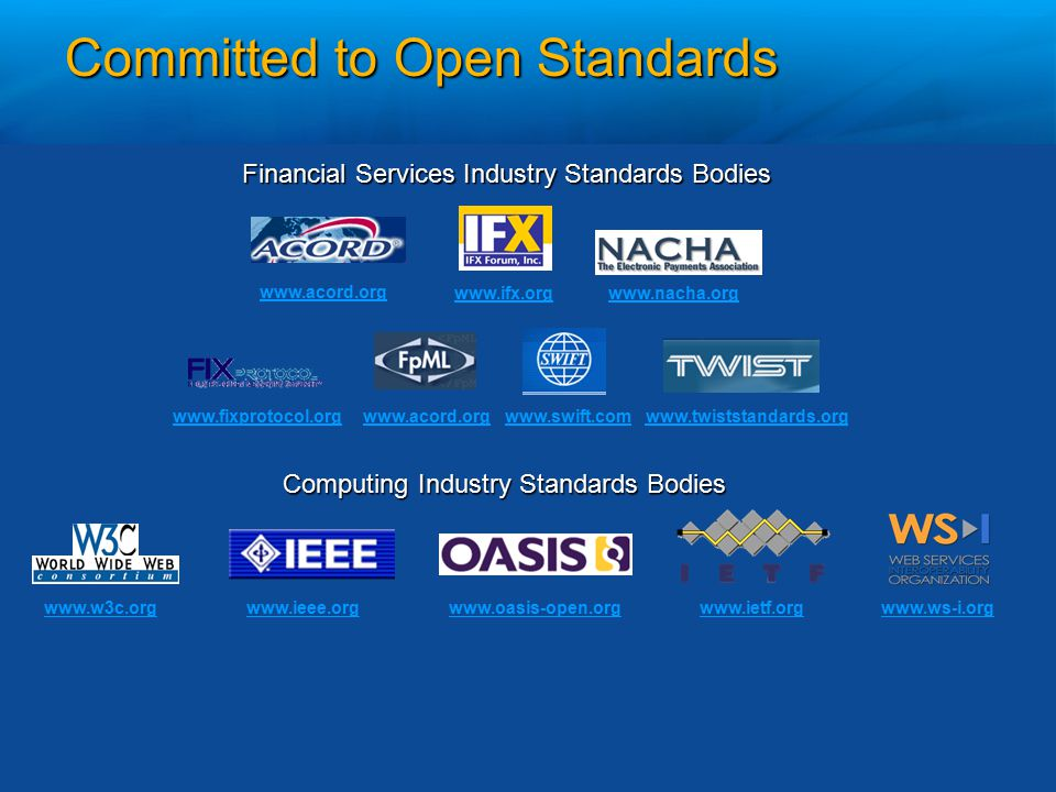 Committed to Open Standards www.w3c.orgwww.ieee.orgwww.ietf.orgwww.ws-i.org Actively participating with standards bodies: www.oasis-open.org Financial