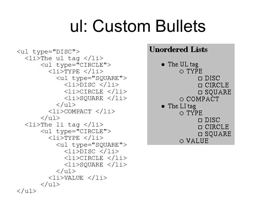 ul: Custom Bullets The ul tag TYPE DISC CIRCLE SQUARE COMPACT The li tag TYPE DISC CIRCLE SQUARE VALUE