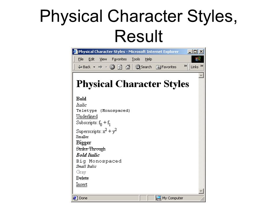 Physical Character Styles, Result