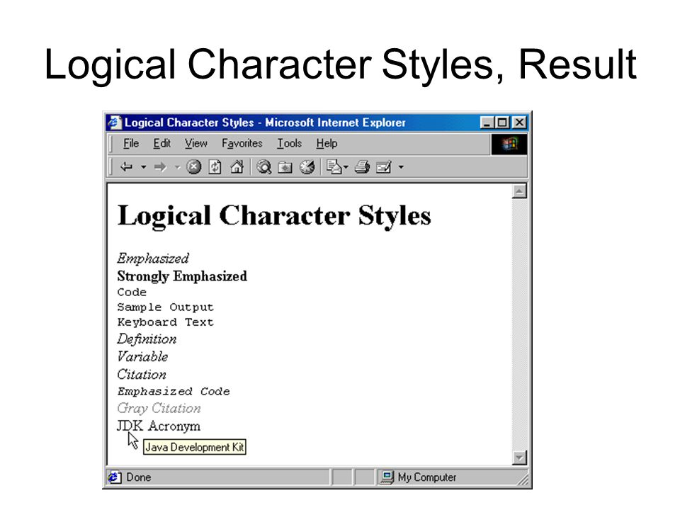 Logical Character Styles, Result