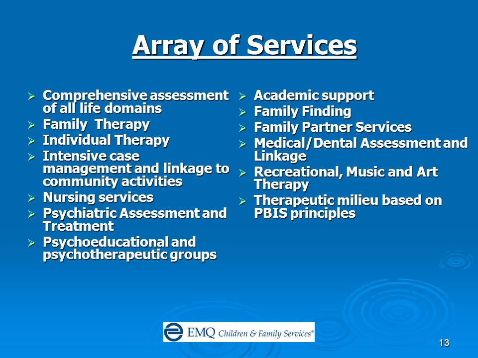 13 Array of Services  Comprehensive assessment of all life domains  Family Therapy  Individual Therapy  Intensive case management and linkage to community activities  Nursing services  Psychiatric Assessment and Treatment  Psychoeducational and psychotherapeutic groups  Academic support  Family Finding  Family Partner Services  Medical/Dental Assessment and Linkage  Recreational, Music and Art Therapy  Therapeutic milieu based on PBIS principles