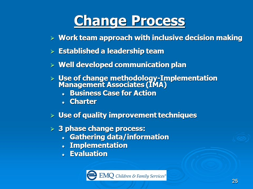 25 Change Process  Work team approach with inclusive decision making  Established a leadership team  Well developed communication plan  Use of change methodology-Implementation Management Associates (IMA) Business Case for Action Business Case for Action Charter Charter  Use of quality improvement techniques  3 phase change process: Gathering data/information Gathering data/information Implementation Implementation Evaluation Evaluation