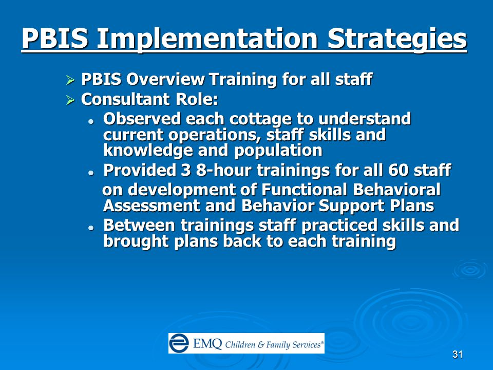 31 PBIS Implementation Strategies  PBIS Overview Training for all staff  Consultant Role: Observed each cottage to understand current operations, staff skills and knowledge and population Observed each cottage to understand current operations, staff skills and knowledge and population Provided 3 8-hour trainings for all 60 staff Provided 3 8-hour trainings for all 60 staff on development of Functional Behavioral Assessment and Behavior Support Plans on development of Functional Behavioral Assessment and Behavior Support Plans Between trainings staff practiced skills and brought plans back to each training Between trainings staff practiced skills and brought plans back to each training