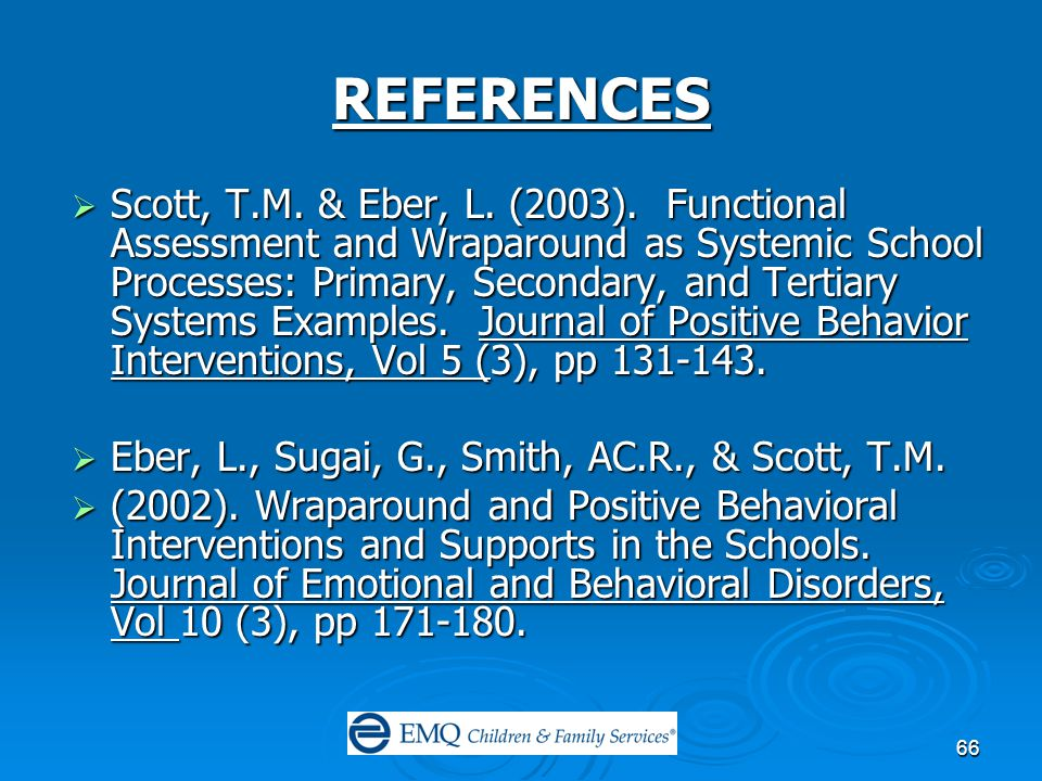 66 REFERENCES  Scott, T.M. & Eber, L. (2003).