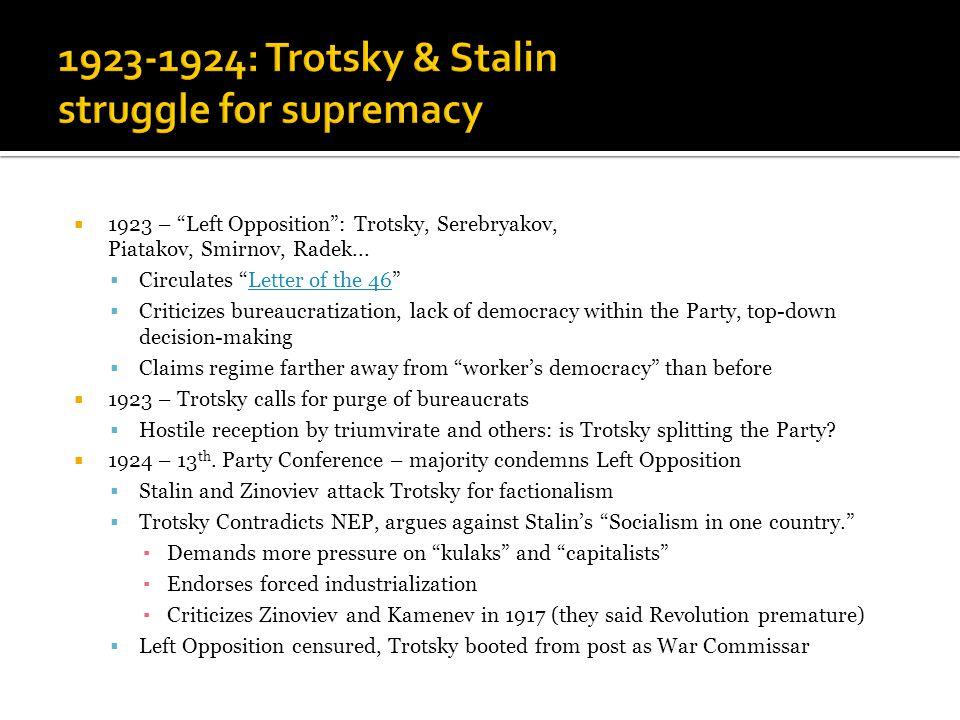  1923 – Left Opposition : Trotsky, Serebryakov, Piatakov, Smirnov, Radek...
